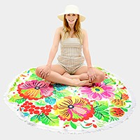Flower _ multi-way round beach throw with tassel trim