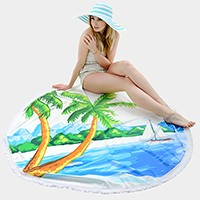 Palm tree _ multi-way round beach throw with tassel trim