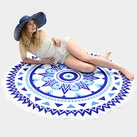 Round beach towel with tassel trim