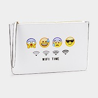 Emoji zip pouch clutch bag
