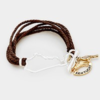 Kentucky state map & bird pearl charm multi-tier rope toggle bracelet