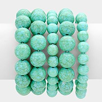 5 PCS - Howlite bead stack stretch bracelets