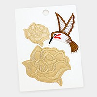 Roses & bird _ Embroidered patch set