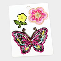 Flower & butterfly _ Embroidered patch set