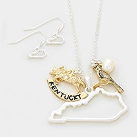 Kentucky state map pendant & bird pearl charm necklace