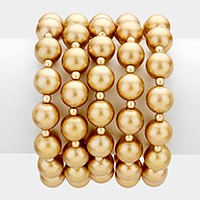 5 PCS - Pearl stack stretch bracelets