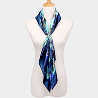 Silk feeling patterned square border scarf