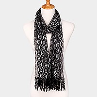 Metallic thread accented tulle oblong scarf with lace fringe