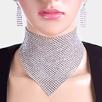 Crystal mesh bandana choker necklace