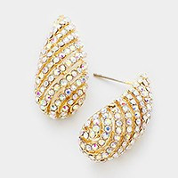 Oblique crystal droplet evening earrings