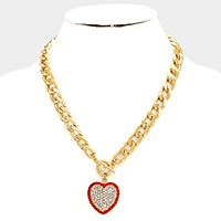 Pave heart pendant toggle necklace