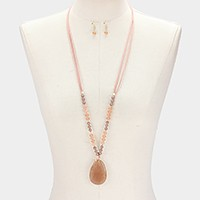 Semi precious stone pendant & beaded faux suede long necklace