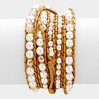 Tied long pearl strand wrap bracelet