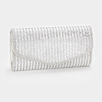 Striped crystal evening clutch bag with strap