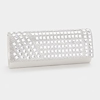 Crystal embellished shimmery evening clutch bag with strap