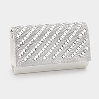 Oblique crystal embellished shimmery evening clutch bag with strap