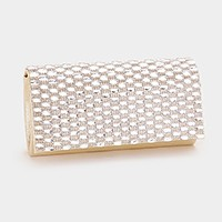 Rectangle crystal embellished shimmery evening clutch bag with strap