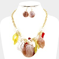 Celluloid shell & seahorse charm necklace
