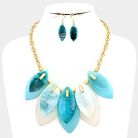 Celluloid double layer marquise leaf necklace