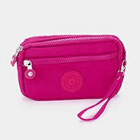 Petite triple pocket zip wristlet crossbody bag