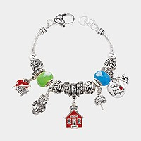 Multi-bead school themed charm bracelet