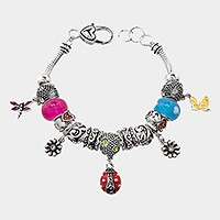 Multi-bead school butterfly & lady bug charm bracelet