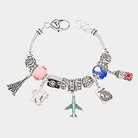 Multi-bead travel themed charm bracelet