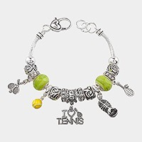 Multi-bead sports themed charm bracelet