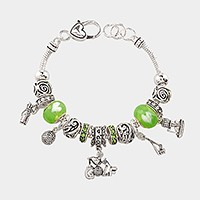 Multi-bead golf themed charm bracelet