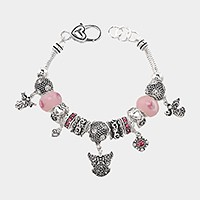 Multi-bead angel wings charm bracelet
