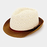 Color block paper lace straw fedora with faux leather belt