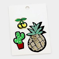Sequin pineapple _ Embroidered patch set