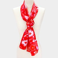 Silk Feeling Heart Pattern Print Oblong Scarf
