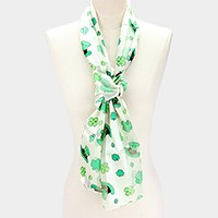 Silk feeling clover & hat print oblong scarf