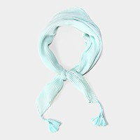 Solid crinkle bandana scarf with tassels