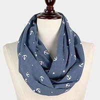 Anchor & star print infinity cotton scarf