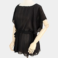 Wrinkled side open drawstring tunic top with tassels