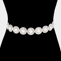 Pearl embellished rhinestone sash ribbon bridal wedding belt