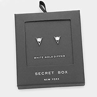 Secret Box _ White gold dipped CZ geo stud earrings