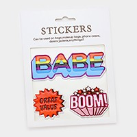 Pop up letters _ Mixed graphic patch sticker set