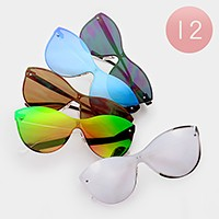 12 Pairs - No frame mirror sunglasses