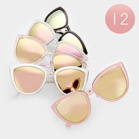 12 Pairs - Mirror cat eye sunglasses