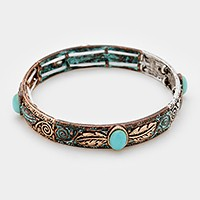 Feather turquoise stretch bracelet