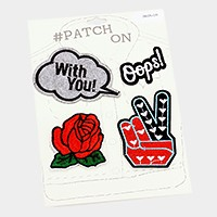 Rose & peace hand sign _ Embroidered patch set