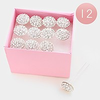 12 PCS - Mini crystal hair pin sticks with pink display case