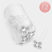 12 PCS - Mini crystal flower hair pin sticks