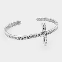 Hammered metal cross cuff bracelet