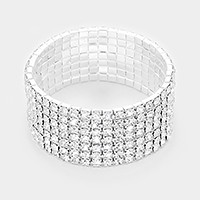 7-Row rhinestone stretch bracelet