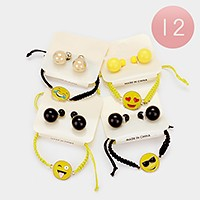 12 Sets - Emoji cinch bracelets + double sided earrings