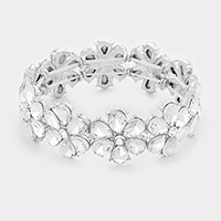 Glass crystal flower stretch evening bracelet